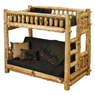 Traditional Cedar Log Twin Futon Bunk Bed