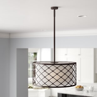 Cristal Metal Overlay 3-Light Drum Chandelier by Charlton Home