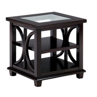 Monadnock Glass Inserted Wooden End Table by House of Hampton