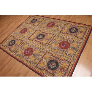 One Of A Kind Emrich French Needlepoint Transitional 5 X 7 Wool Gold Blue Red Area Rug