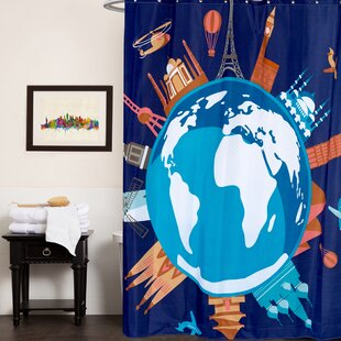 Fabric Single Shower Curtain with Fun World Graphic Print (70