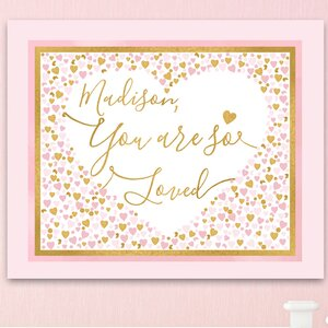 Hearts Personalized 'You Are so Loved' Canvas Art