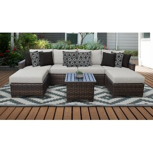 kathy ireland Homes & Gardens River Brook 7 Piece Outdoor Wicker Patio Furniture Set 07a by TK Classics