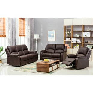 Latitude Run Willian Reclining 3 Piece Leather Living Room Set