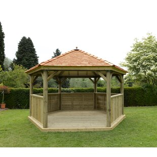 4.9m X 4.3m Wooden  Gazebo With Cedar Roof By Sol 72 Outdoor