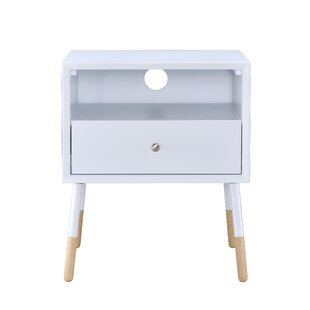 Latitude Run Meagher White 1-Drawer End T..
