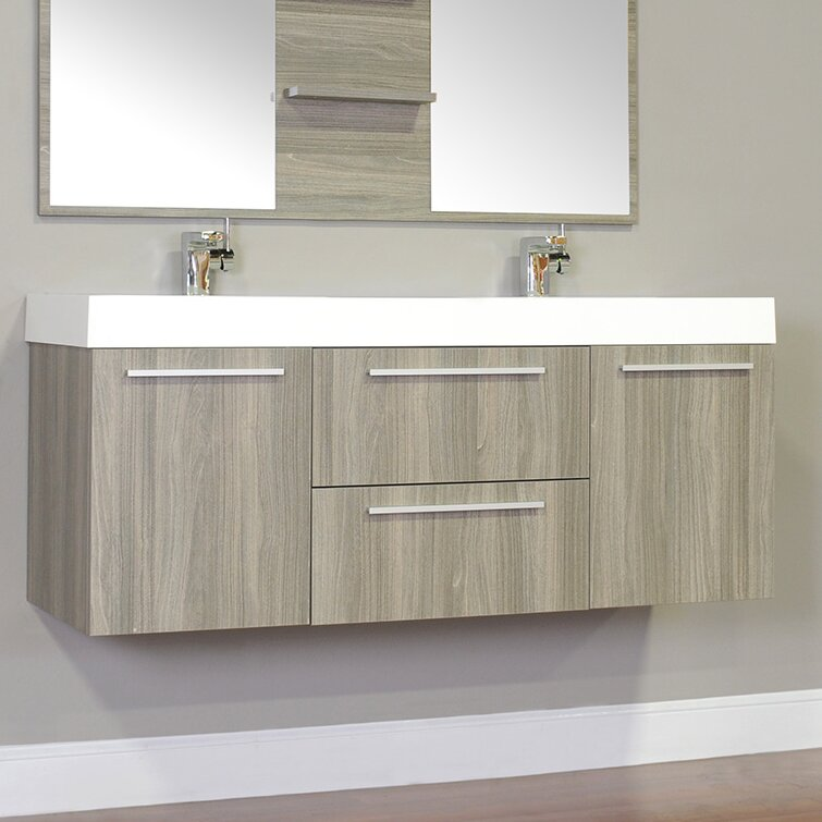 "wade logan waldwick 54"" double wall mount modern bathroom vanity"