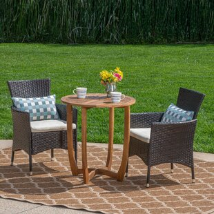 Millard Outdoor 3 Piece Bistro Set with Cushions by Winston Porter