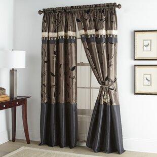 Debrah Luxury Floral Rod Pocket Window Curtain Panels (Set of 2) by Astoria Grand