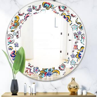 East Urban Home Abstract Design Ix Triple C Modern Contemporary Frameless Wall Mirror