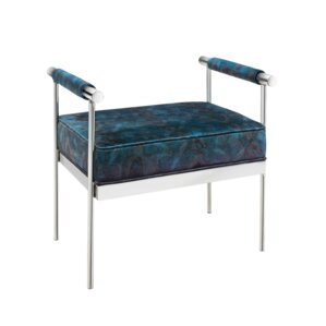 Edna Peacock Velvet Upholstered Polished Ste..