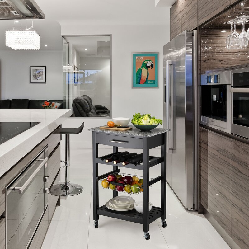 Evodio Kitchen Cart with Marble Top