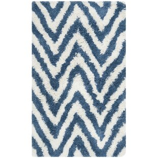 Best Review Davey Ivory/Blue Area Rug By Viv + Rae