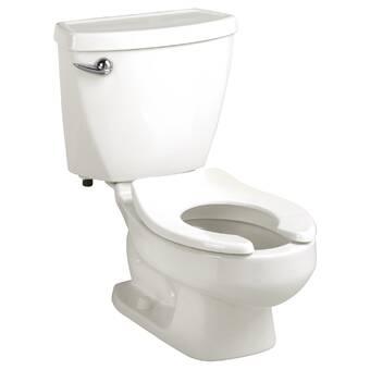 White Mansfield Plumbing 148.155.WHT Quantum Elongated Front ADA 1.28 GPF Pressure-Assist Toilet