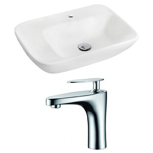 Best Reviews Ceramic 23.5 Wall-Mount Bathroom Sink with Faucet By Royal Purple Bath Kitchen