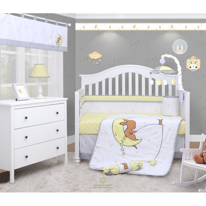 Ratchford Little Bunny Baby Nursery 6 Piece Crib Bedding Set