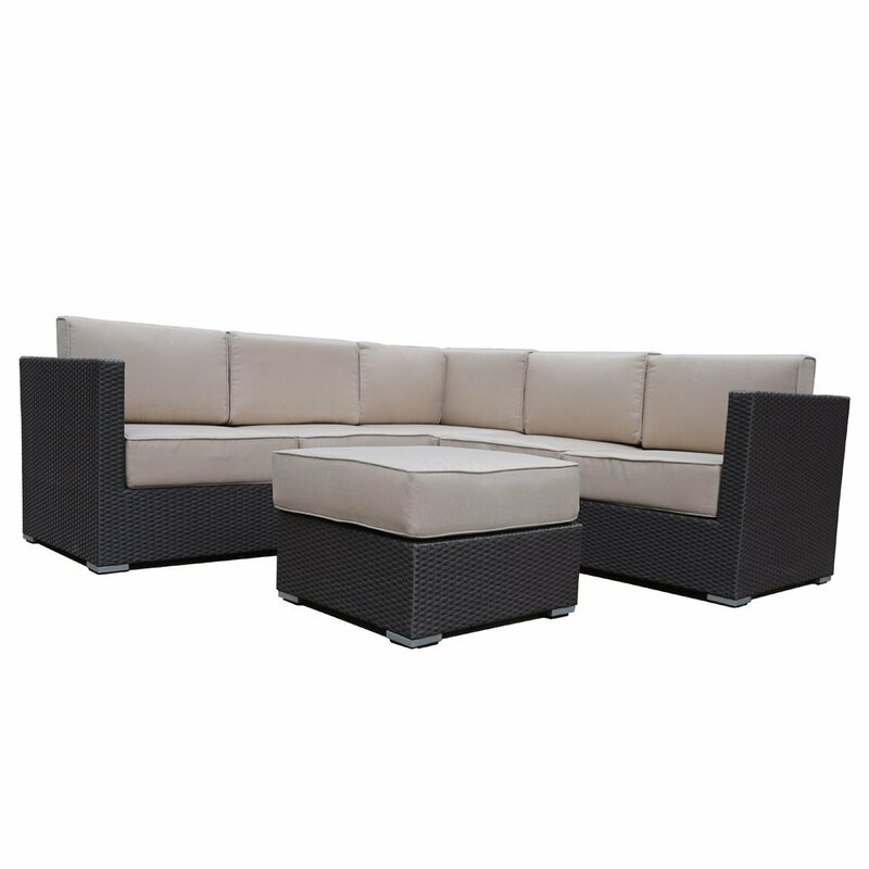 abba patio all weather outdoor wicker 4 piece rattan sectional set