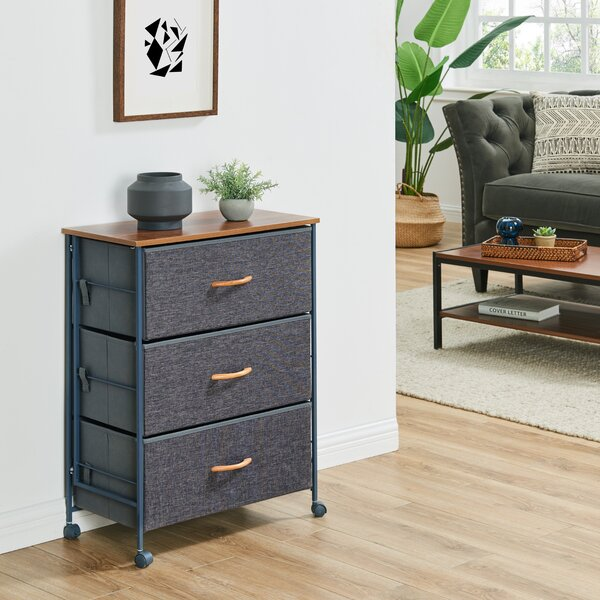 2 Tier 5 Drawers Fabric Storage Organizer Dresser Night Stand with MDF Board Drawer Bottom Wooden Tabletop Sturdy Steel Frame Easy Pull Fabric Bins Organizer Unit for Bedroom Hallway Entryway Closets