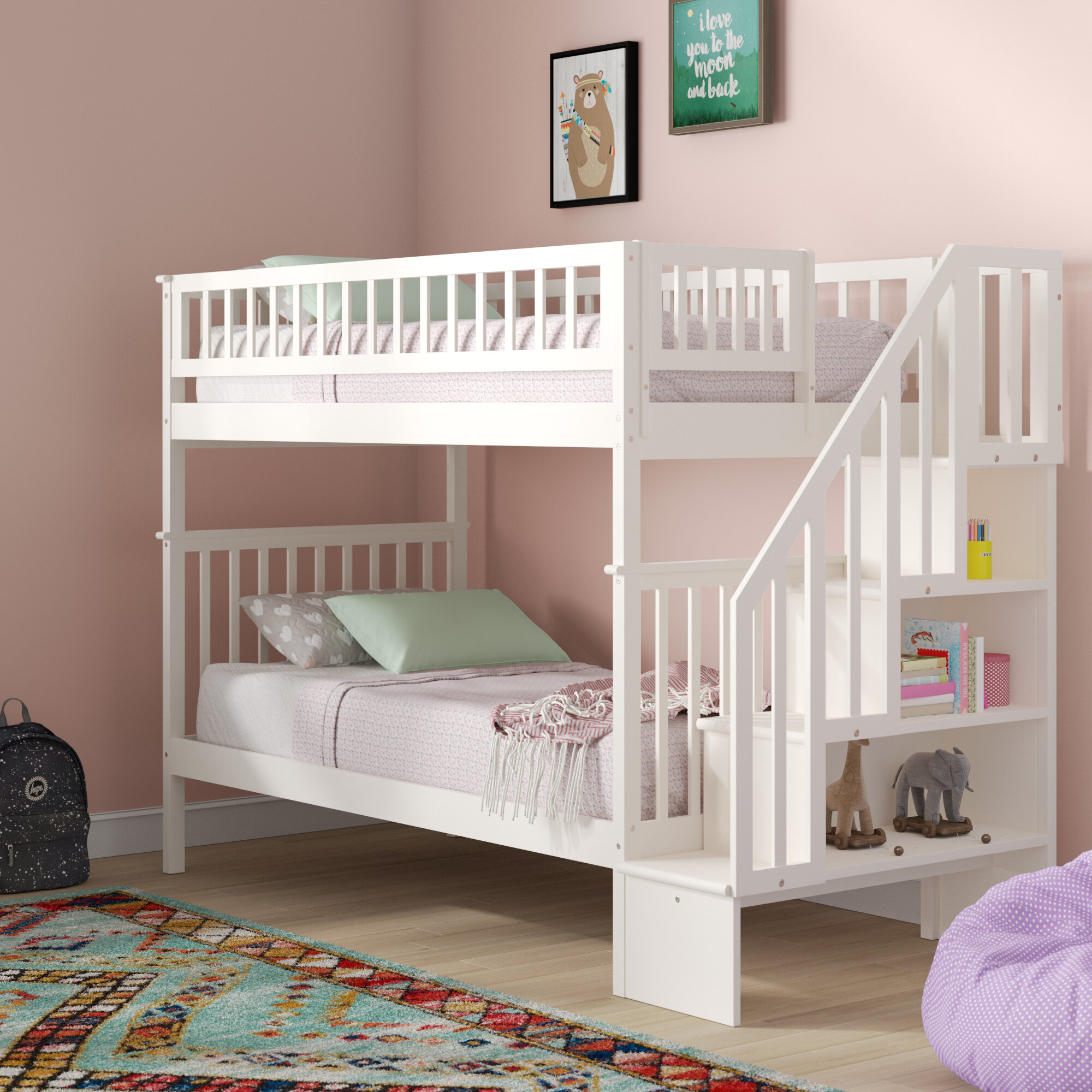 Picture of: Viv Rae Shyann Staircase Twin Over Twin Bunk Bed With Bookcase Reviews