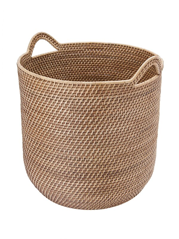 Delightful Round Rattan Storage Basket With Ear Handles