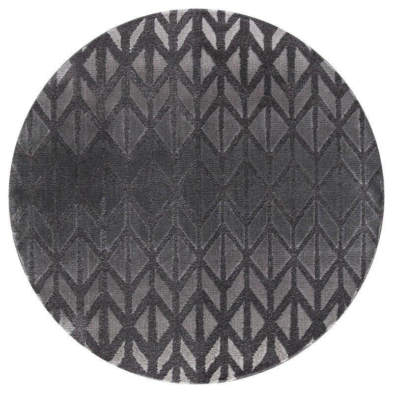 Ebern Designs Desdemona Charcoal Area Rug, Size: Round 5