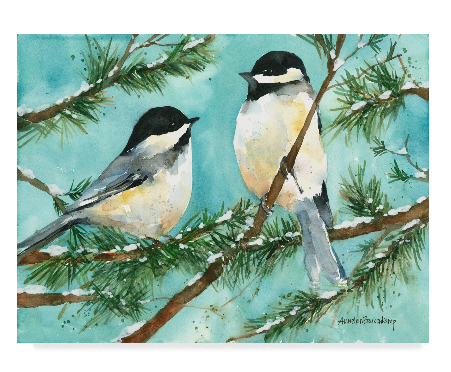 Trademark Art Chickadee Chat Watercolor Painting Print On Wrapped Canvas Wayfair