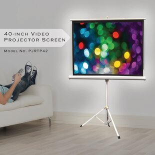 Floor-Standing Tripod White Portable Projector Screen