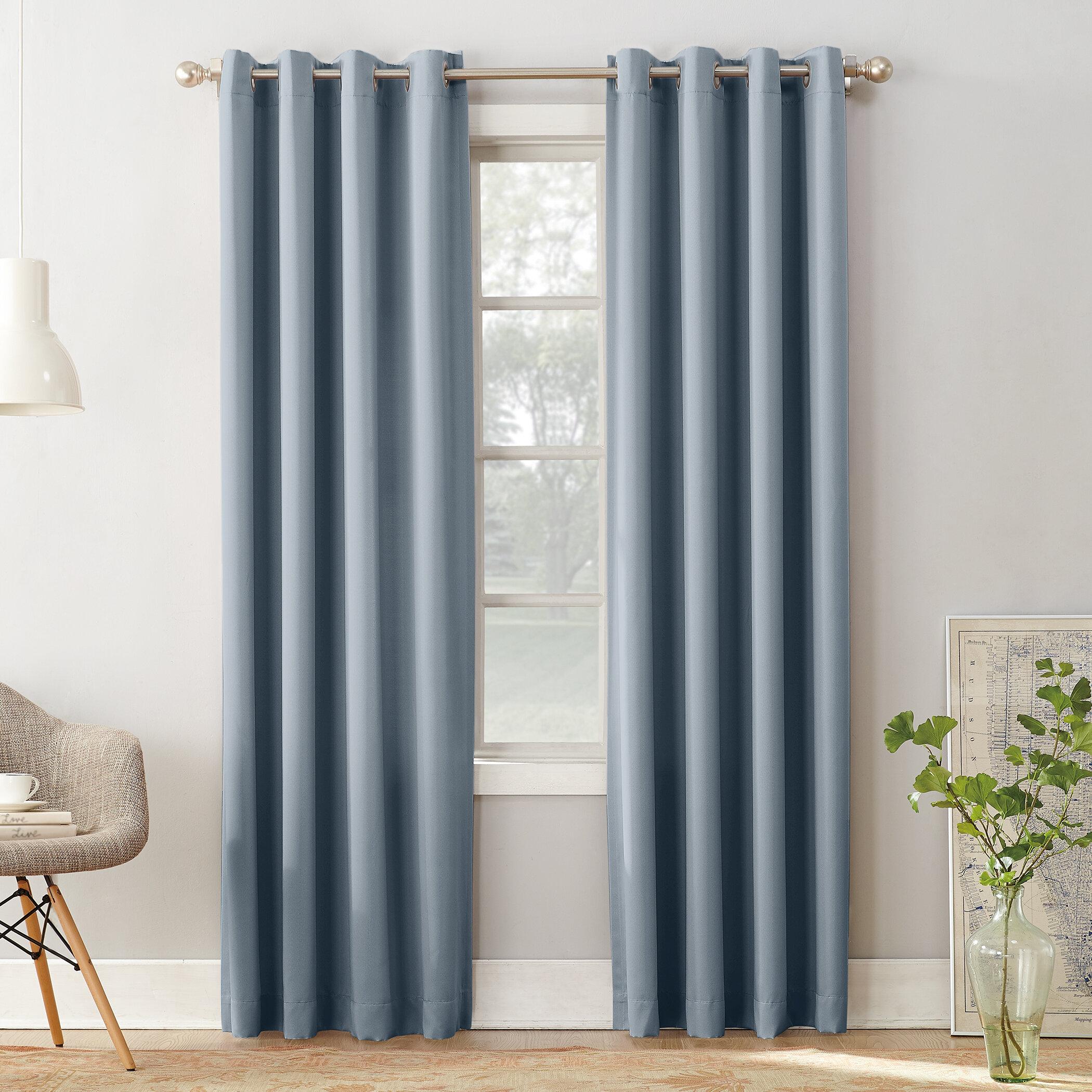 Sun Zero Groton Solid Room Darkening Grommet Single Curtain Panel ...