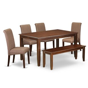 Brandy Kitchen Table 6 Piece Solid Wood D..