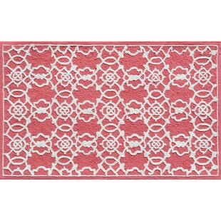 Read Reviews Hand-Hooked Coral/White Area Rug By The Conestoga Trading Co.