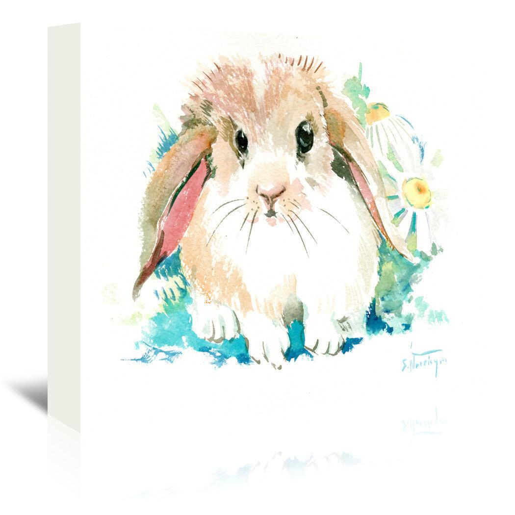East Urban Home Suren Bunnyflowerpainting Print On Wrapped Canvas Wayfair