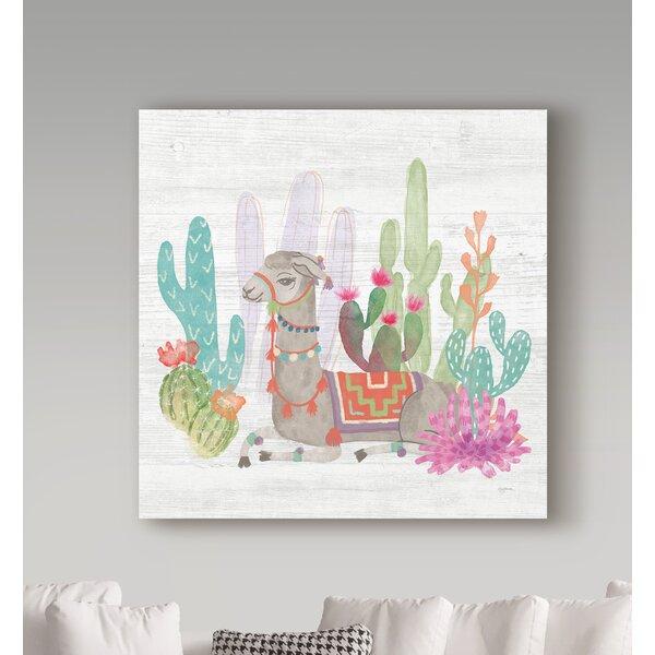 Bungalow Rose Tomy Lovely Llamas Cactus Love Canvas Art Reviews Wayfair