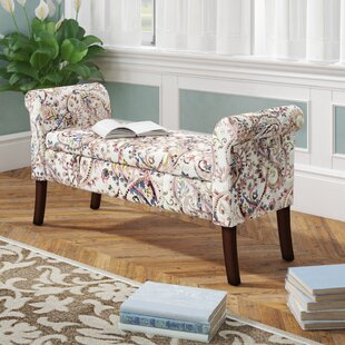 Charlton Home Keziah Floral Upholstered Storage Bench
