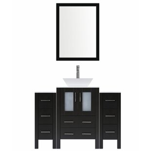 Modern 54 Single Bathroom Vanity Set with Mirror by LessCare