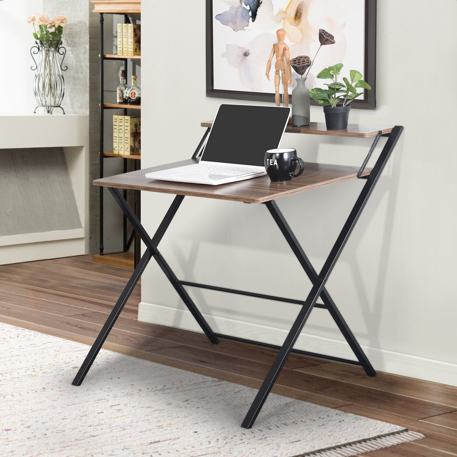 Image of: 17 Stories Folding Computer Desk With Shelf Home Office Small Desk With Metal Frame Modern Simple Laptop Table Study Desk Wayfair Ca