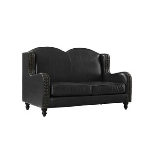Riney Leather Loveseat by Char..
