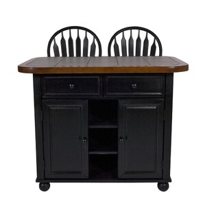 Lockwood Kitchen Island with Ceramic Tile Top and Stools by Loon Peak Top Reviews