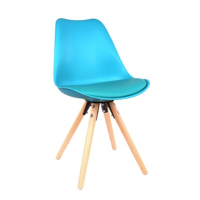 George Oliver Beyers Upholstered Dining Chair Leg Color: Natural, Upholstery Color: Blue
