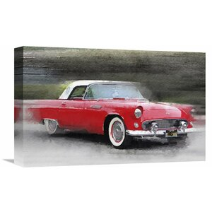 '1955 Ford Thunderbird Watercolor' Painting Print on Wrapped Canvas