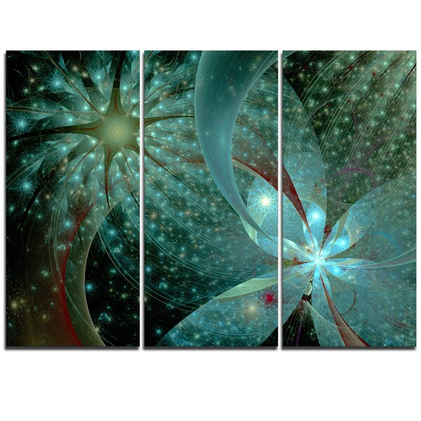 Designart Symmetrical Fractal Flower In Light Blue 3 Piece Graphic Art On Wrapped Canvas Set Wayfair