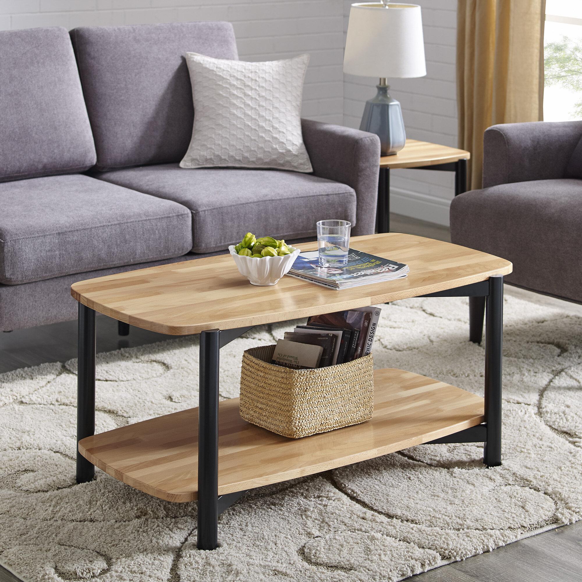 Winston Porter Jaimes Solid Wood Coffee Table With Storage Reviews Wayfair