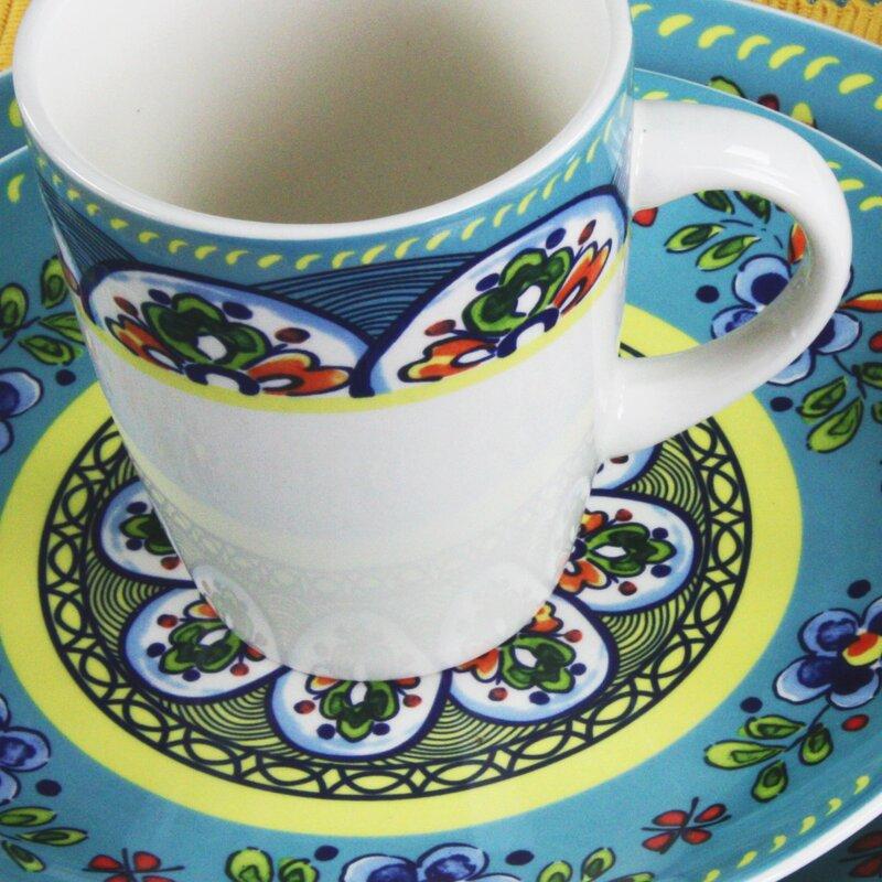 Santa Fe Springs Stoneware 16 Piece Dinnerware Set Service for 4 & Elama Santa Fe Springs Stoneware 16 Piece Dinnerware Set Service ...