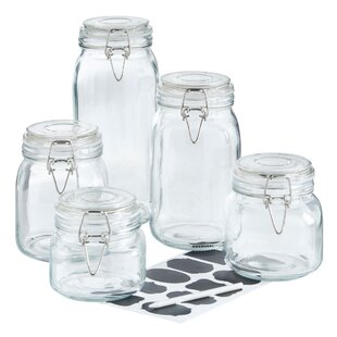 Clip Top Glass 5 Piece Storage Jar Set
