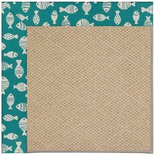 Lisle Machine Tufted Sea Green/Brown Indoor/Outdoor Area Rug