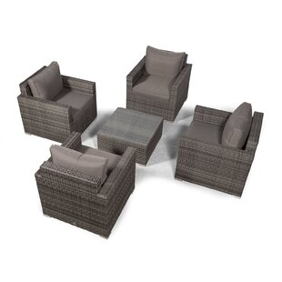 Villatoro Grey Rattan 4 X Armchairs With Square Coffee Table, Outdoor Patio Garden Furniture By Sol 72 Outdoor