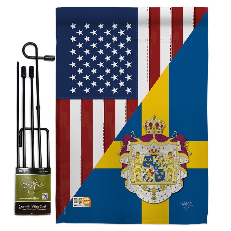 Breeze Decor American Sweden Friendship 2 Sided Polyester 18 5 X 13 In Flag Set Wayfair