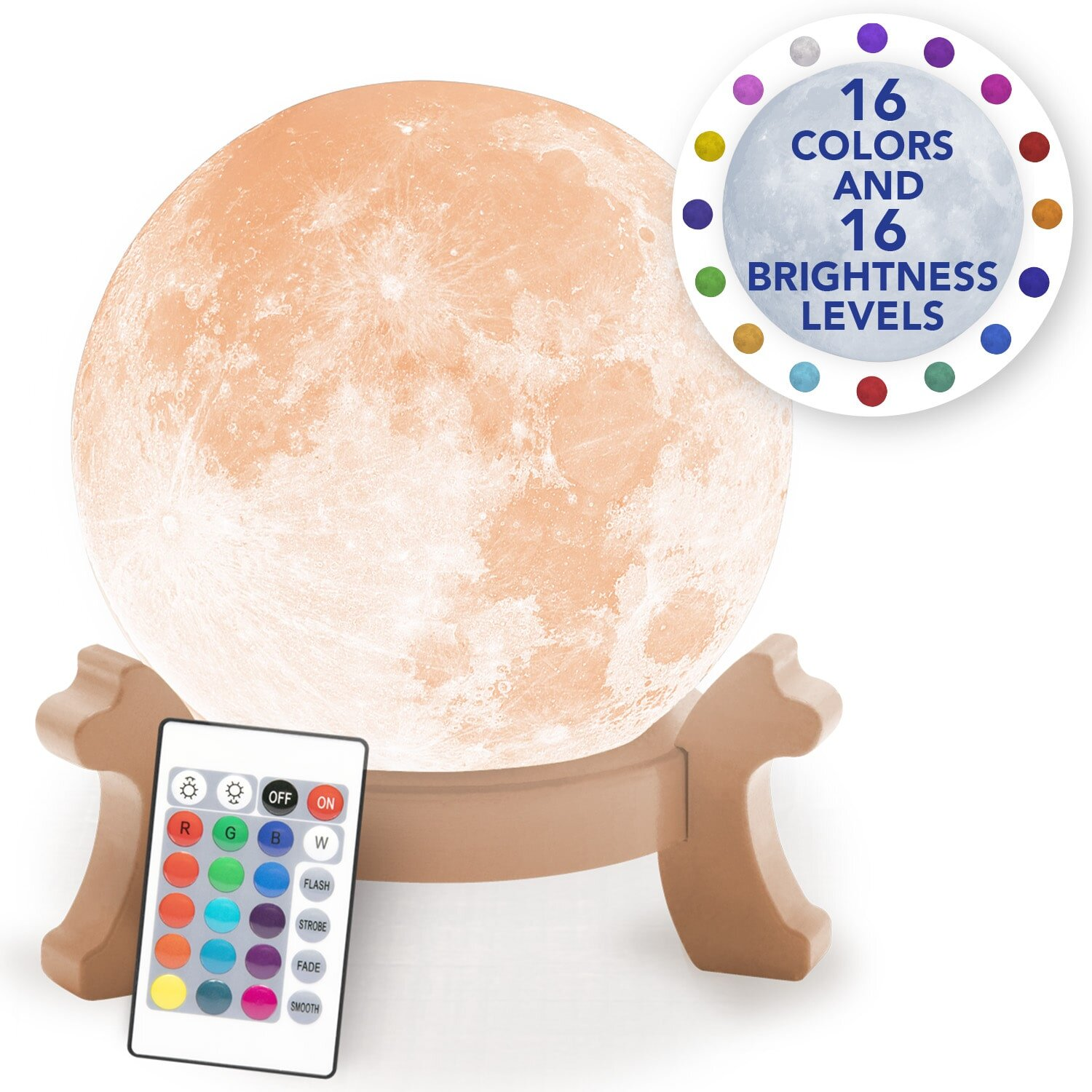 Bulbhead Full Moon Light Decorative Realistic 3 D Led Moon Lamp With 16 Color Light Options 16 Brightness Levels By Bulbhead Remote Control Rechargeable Light Moon Night Light