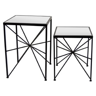 Gassett Metal and Mirror 2 Piece Nesting Tables