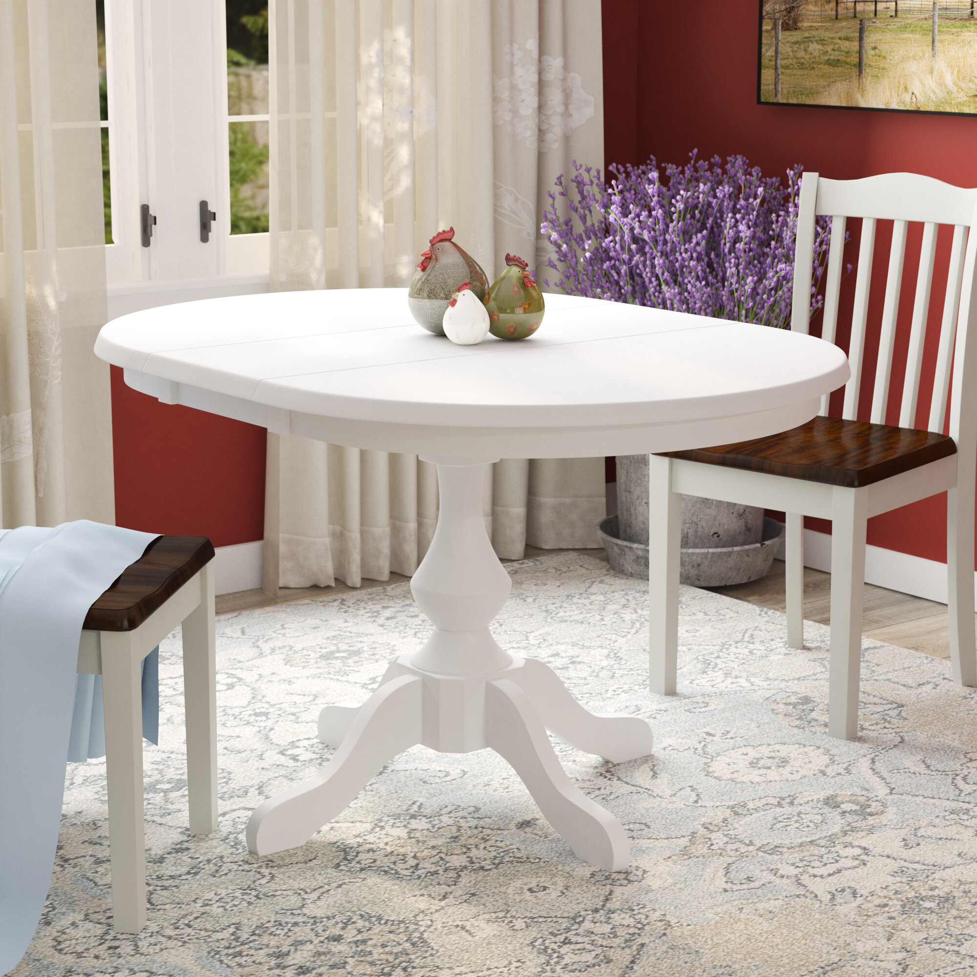 Extendable Solid Wood Rubberwood Dining