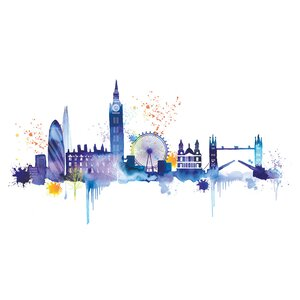 London Skyline' by Summer Thornton Watercolour Painting Print on Canvas